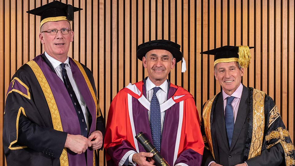 Image of Vice-Chancellor of Loughborough Univerity Professor Robert Allison, Professor the Lord Darzi of Denham and Lord Sebastian Coe, Chancellor of Loughborough University.