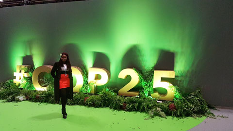Image of student Dainalyn at COP 25.