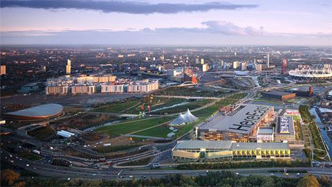 Image of Queen Elizabeth Olympic Park from the sky.