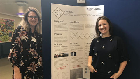 Image of Dr Holly Collison and  Dr Ksenija Kuzmina presenting their research project.