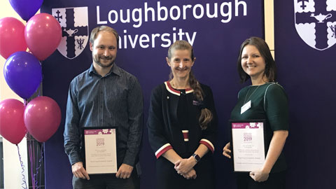 Image of Dr Ksenija Kuzmina and James Moran being presented with the Teaching Innovation Award by Professor Rachel Thomson.