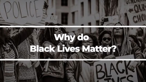 Image of Why Do Black Lives Matter video holding screen.