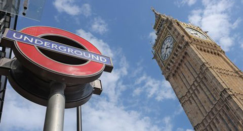 Underground station sign and Big Ben